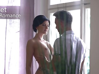 Lubricious brunette Monika Benz gets facial after carnal knowledge with her boyfriend