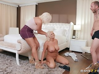 Busty blondes Karissa Shannon and Kristina Shannon share a dick
