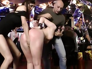 Russian slut anal fisted in public bar