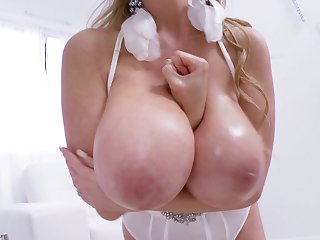 Gorgeous babe in white Kelly Madison loves circle her pussy soaked