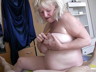 Hardcore threesome turn with blowjob together with huge mature boobs in main calling
