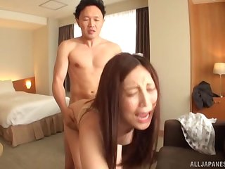 Japanese girl gets fucked by permanent friend's tabulation while she moans