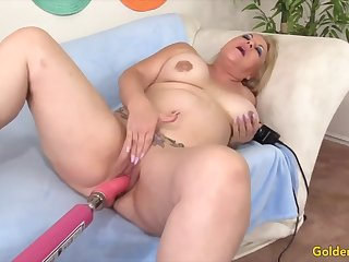 Horny mature sluts understand their superannuated pussies being reamed by fucking machines