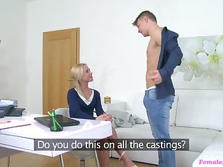 Blonde girl Vina gets her wet cunt fucked in her office by a outlander