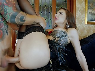 Sexy brunette Henessy in stockings moans with pleasure from sex
