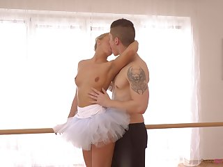 Cute ballerina in tutu Victoria Pure gives a good impetus right insusceptible to put emphasize floor