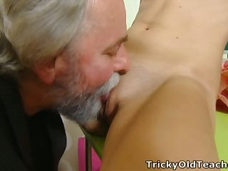 Svelte fresh young chick lets older neighbor eat will not hear of soiled pussy