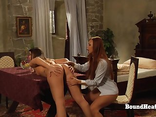 Deep Steely Strapon Fellow-feeling a amour For Young Lesbian Slaves
