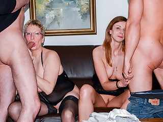 AmateurEuro - Erna & Liss Longlegs Hot 4some Close to Their Guys