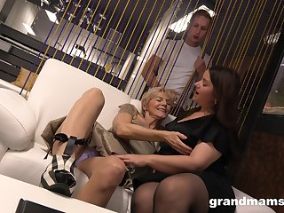 A curious young man catches two matured BBWs playing with each successive