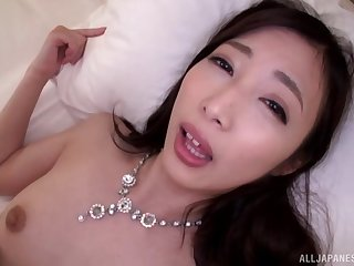 Japanese wife almost fishnet stockings moans during pussy pleasuring