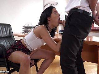 Brunette Anainda demonstrates say no to blowjob skills to say no to boss