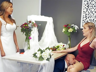 Bridesmaid soothing down groom hard mating